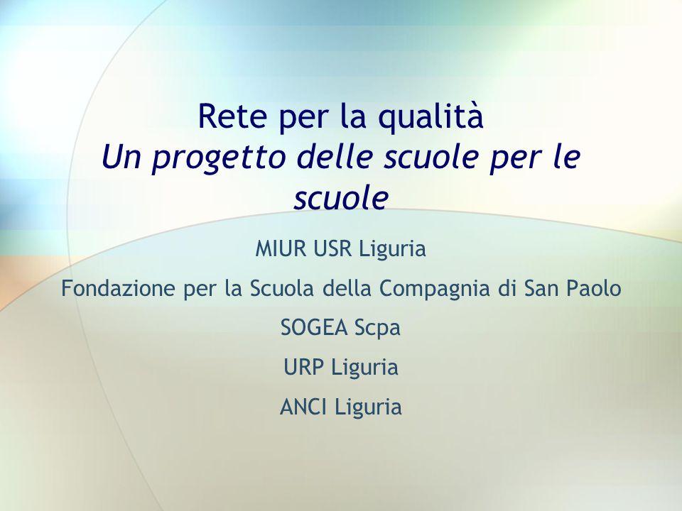 Rete per la qualità Un progetto delle scuole per le scuole MIUR USR Liguria Fondazione per la Scuola della Compagnia di San Paolo SOGEA Scpa URP Liguria ANCI Liguria