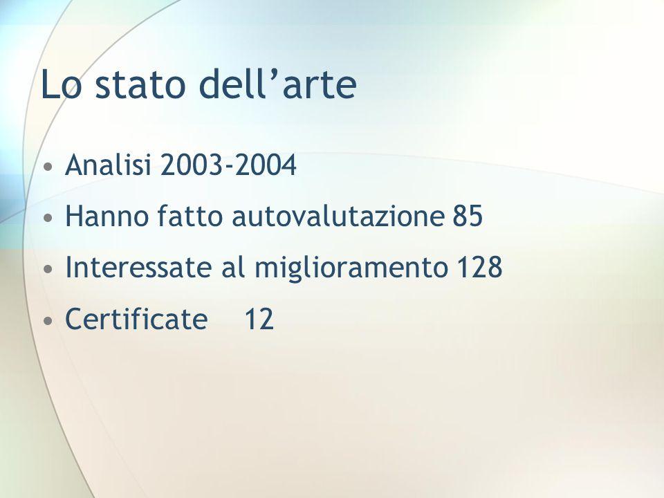 Lo stato dell'arte Analisi 2003-2004 Hanno fatto autovalutazione 85 Interessate al miglioramento 128 Certificate 12