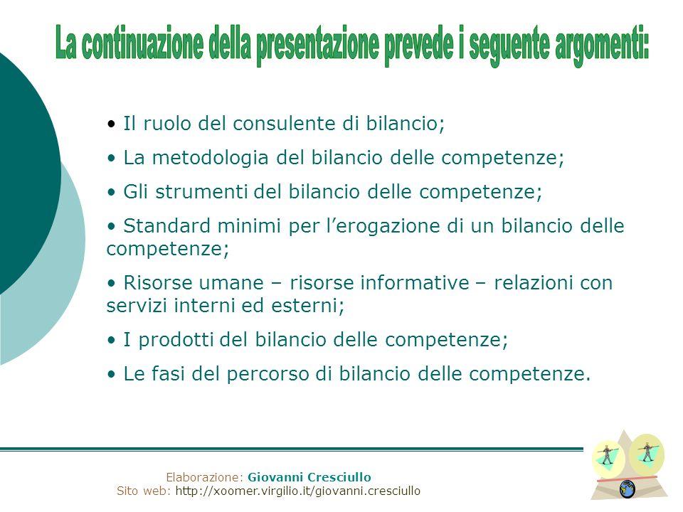 Elaborazione: Giovanni Cresciullo Sito web: http://xoomer.virgilio.it/giovanni.cresciullo Il ruolo del consulente di bilancio; La metodologia del bila