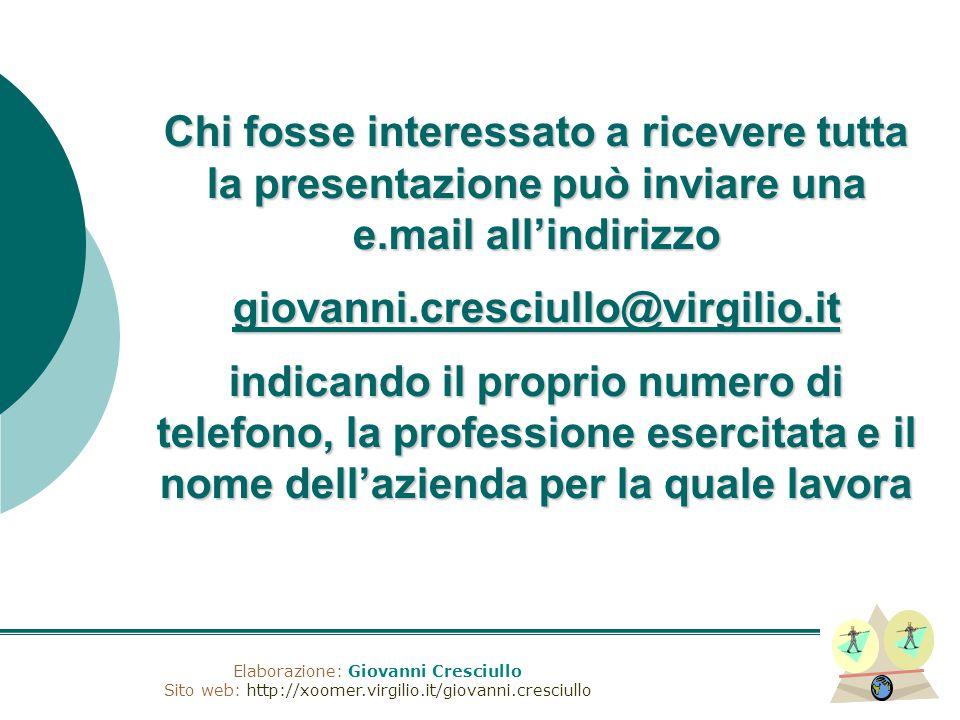 Elaborazione: Giovanni Cresciullo Sito web: http://xoomer.virgilio.it/giovanni.cresciullo Chi fosse interessato a ricevere tutta la presentazione può