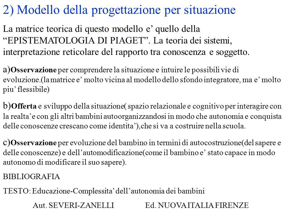 """2) Modello della progettazione per situazione La matrice teorica di questo modello e' quello della """"EPISTEMATOLOGIA DI PIAGET"""". La teoria dei sistemi,"""