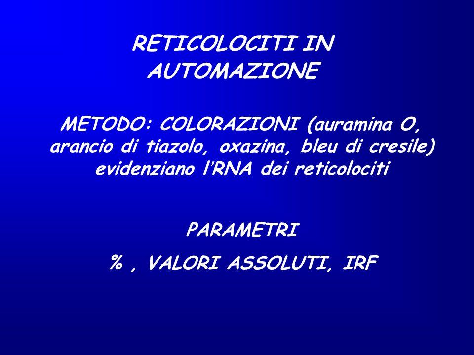 RETICOLOCITI IN AUTOMAZIONE METODO: COLORAZIONI (auramina O, arancio di tiazolo, oxazina, bleu di cresile) evidenziano l'RNA dei reticolociti PARAMETR