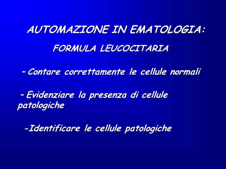 AUTOMAZIONE IN EMATOLOGIA: - Contare correttamente le cellule normali - Evidenziare la presenza di cellule patologiche -Identificare le cellule patolo