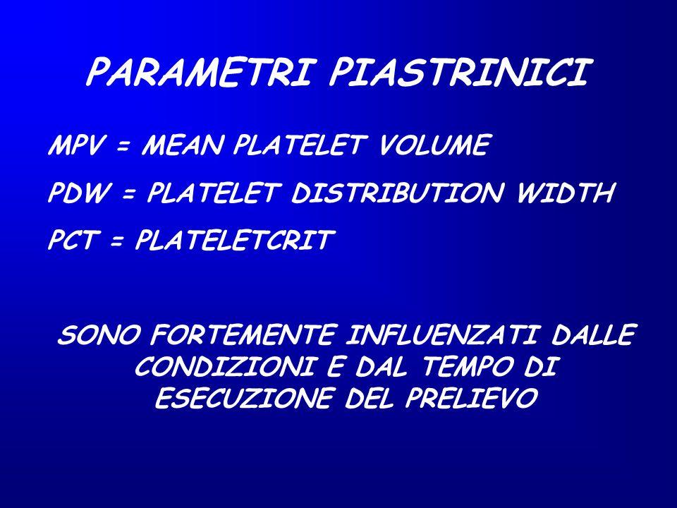 MPV = MEAN PLATELET VOLUME PDW = PLATELET DISTRIBUTION WIDTH PCT = PLATELETCRIT SONO FORTEMENTE INFLUENZATI DALLE CONDIZIONI E DAL TEMPO DI ESECUZIONE