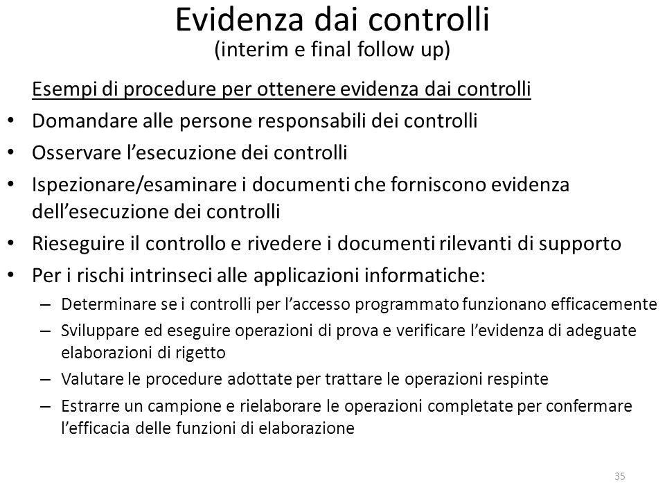 35 Evidenza dai controlli (interim e final follow up) Esempi di procedure per ottenere evidenza dai controlli Domandare alle persone responsabili dei