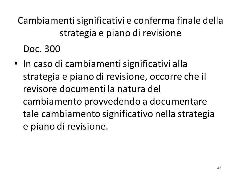43 Cambiamenti significativi e conferma finale della strategia e piano di revisione Doc. 300 In caso di cambiamenti significativi alla strategia e pia