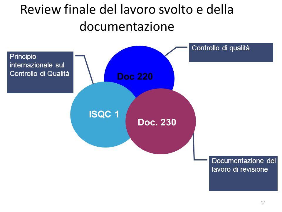 47 Doc 220 ISQC 1 Doc. 230 Review finale del lavoro svolto e della documentazione Controllo di qualità Principio internazionale sul Controllo di Quali