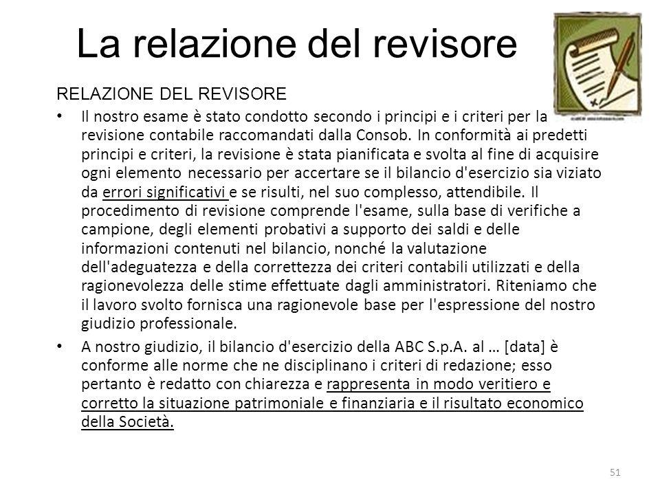 51 La relazione del revisore RELAZIONE DEL REVISORE Il nostro esame è stato condotto secondo i principi e i criteri per la revisione contabile raccoma