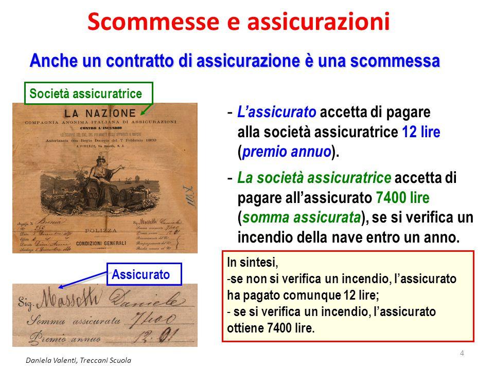 Daniela Valenti, Treccani Scuola 5 Le assicurazioni Uno sguardo alla storia Si trovano in Italia, già nel 1300 nelle città marinare, contratti fra privati per assicurare le merci che viaggiavano via mare.