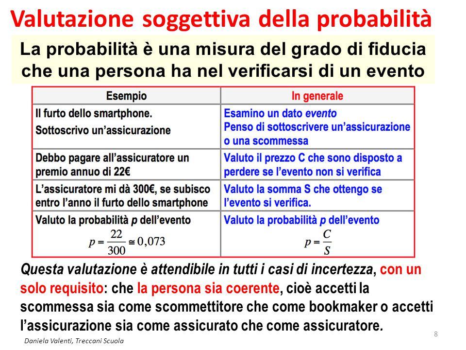 Daniela Valenti, Treccani Scuola 9 Eventi e probabilità soggettiva p = 0 Evento impossibile p = 1 Evento certo 0 < p < 1