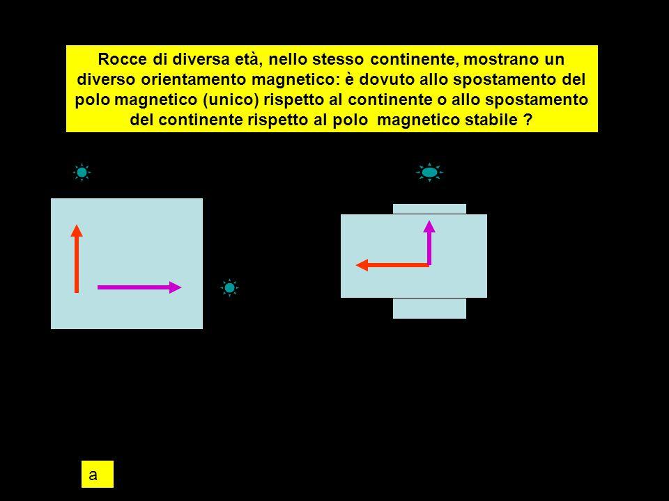 Rocce di diversa età, nello stesso continente, mostrano un diverso orientamento magnetico: è dovuto allo spostamento del polo magnetico (unico) rispetto al continente o allo spostamento del continente rispetto al polo magnetico stabile .