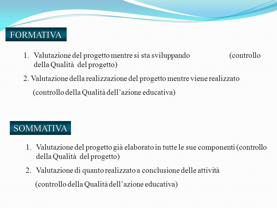 FORMATIVA 1.Valutazione del progetto mentre si sta sviluppando (controllo della Qualità del progetto) 2.
