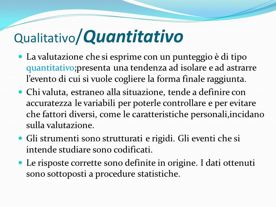 Qualitativo /Quantitativo La valutazione che si esprime con un punteggio è di tipo quantitativo;presenta una tendenza ad isolare e ad astrarre l'evento di cui si vuole cogliere la forma finale raggiunta.