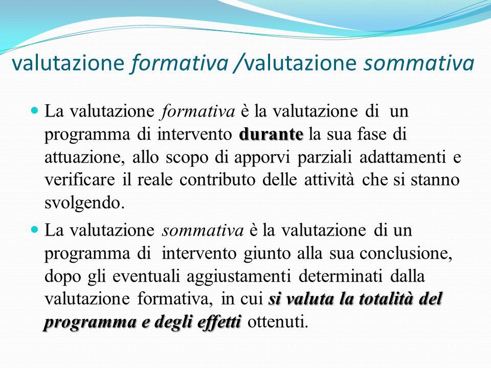 valutazione formativa /valutazione sommativa durante La valutazione formativa è la valutazione di un programma di intervento durante la sua fase di attuazione, allo scopo di apporvi parziali adattamenti e verificare il reale contributo delle attività che si stanno svolgendo.