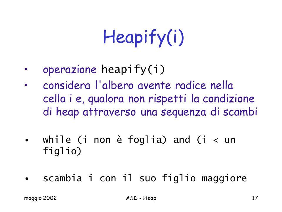 maggio 2002ASD - Heap17 Heapify(i) operazione heapify(i) considera l albero avente radice nella cella i e, qualora non rispetti la condizione di heap attraverso una sequenza di scambi while (i non è foglia) and (i < un figlio) scambia i con il suo figlio maggiore