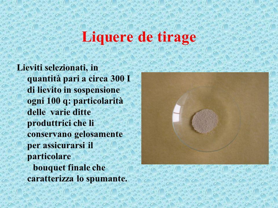 Liquere de tirage I lieviti utilizzati, sono caratterizzati da: 1) Sopportare alte pressioni (5-6 atm), 2) Essere in grado di fermentare in ambiente alcolico (circa 12,5 gradi), 3) Svolgere la fermentazione a basse temperature (l0-l2 0 C) 4) Fornire un bouquet finale molto fine.