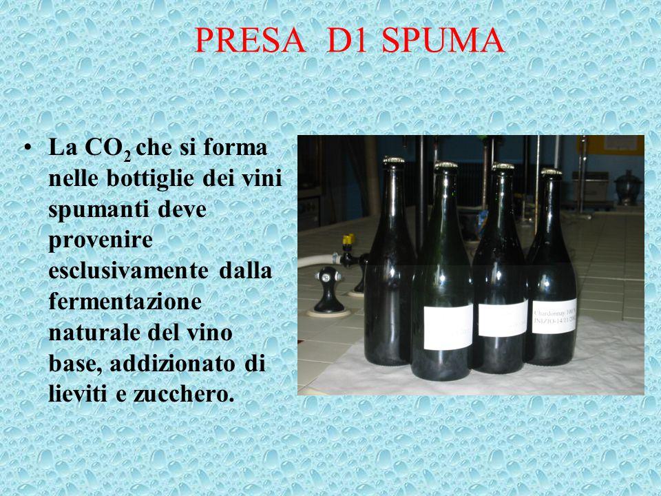 PRESA D1 SPUMA La CO 2 che si forma nelle bottiglie dei vini spumanti deve provenire esclusivamente dalla fermentazione naturale del vino base, addizi