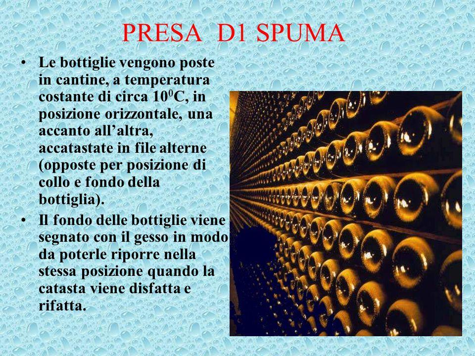 PRESA D1 SPUMA Le bottiglie vengono poste in cantine, a temperatura costante di circa 10 0 C, in posizione orizzontale, una accanto all'altra, accatas