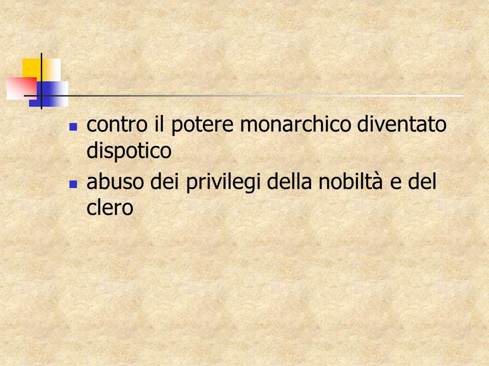 contro il potere monarchico diventato dispotico abuso dei privilegi della nobiltà e del clero