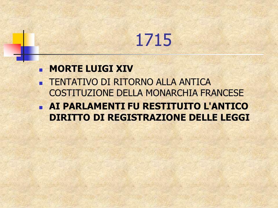1715 MORTE LUIGI XIV TENTATIVO DI RITORNO ALLA ANTICA COSTITUZIONE DELLA MONARCHIA FRANCESE AI PARLAMENTI FU RESTITUITO L ANTICO DIRITTO DI REGISTRAZIONE DELLE LEGGI