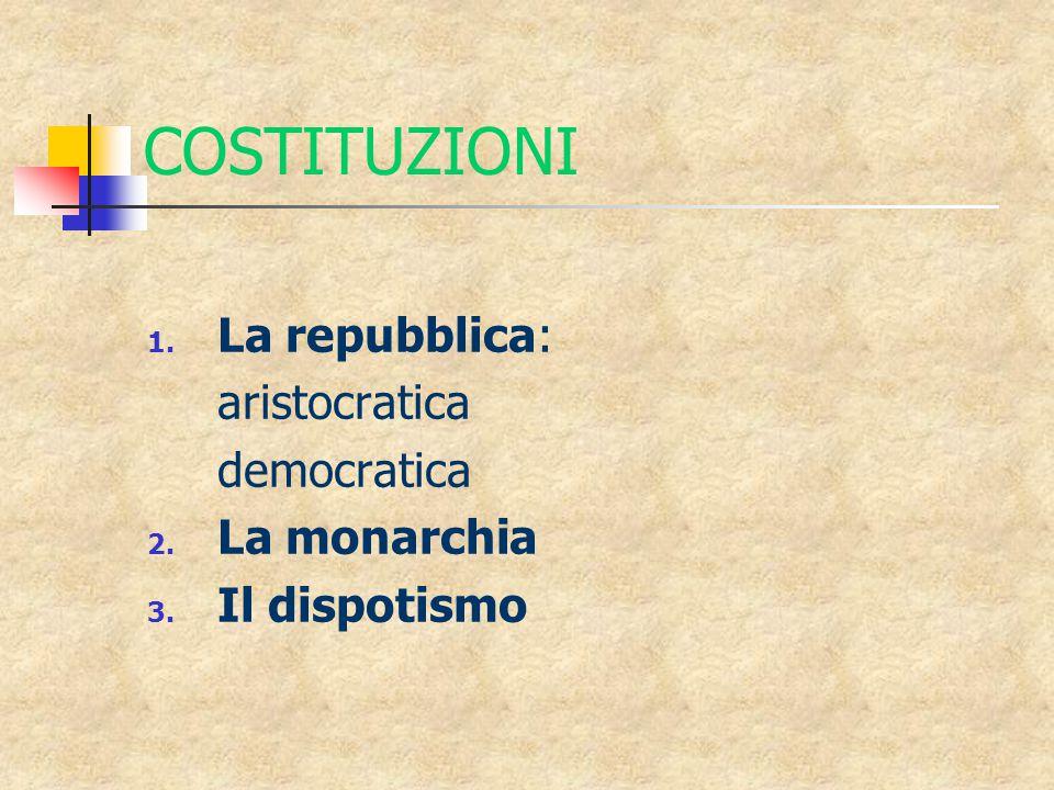 COSTITUZIONI 1. La repubblica: aristocratica democratica 2. La monarchia 3. Il dispotismo