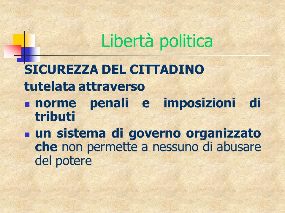 Libertà politica SICUREZZA DEL CITTADINO tutelata attraverso norme penali e imposizioni di tributi un sistema di governo organizzato che non permette a nessuno di abusare del potere