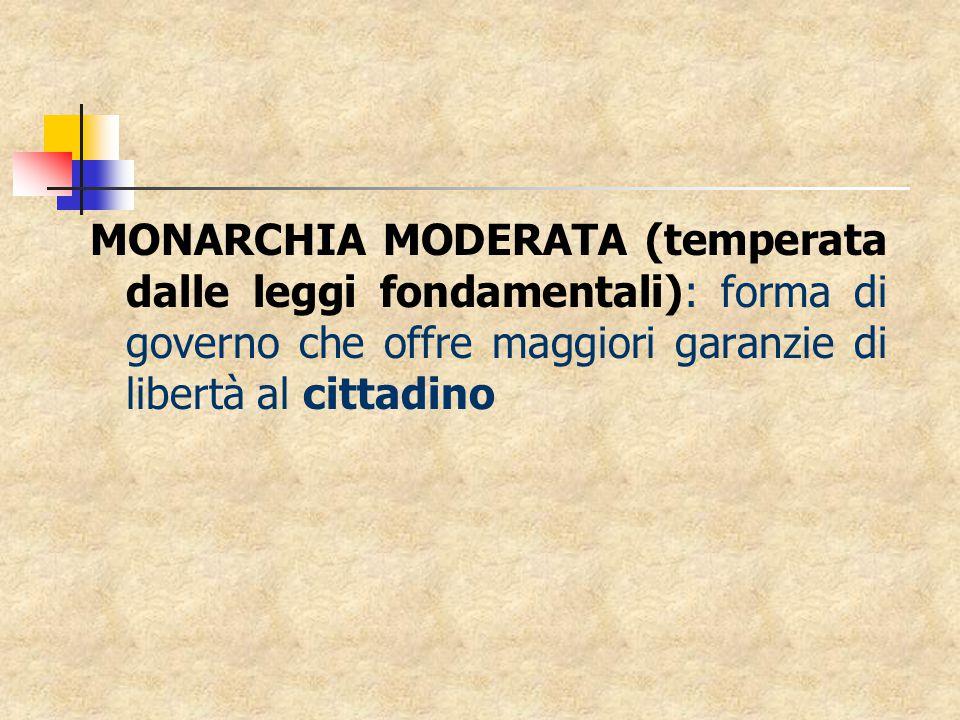 MONARCHIA MODERATA (temperata dalle leggi fondamentali): forma di governo che offre maggiori garanzie di libertà al cittadino