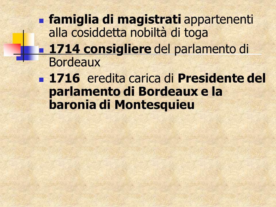 famiglia di magistrati appartenenti alla cosiddetta nobiltà di toga 1714 consigliere del parlamento di Bordeaux 1716 eredita carica di Presidente del parlamento di Bordeaux e la baronia di Montesquieu