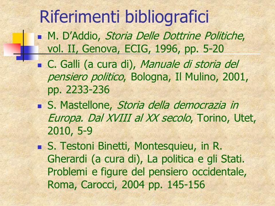 Riferimenti bibliografici M.D'Addio, Storia Delle Dottrine Politiche, vol.