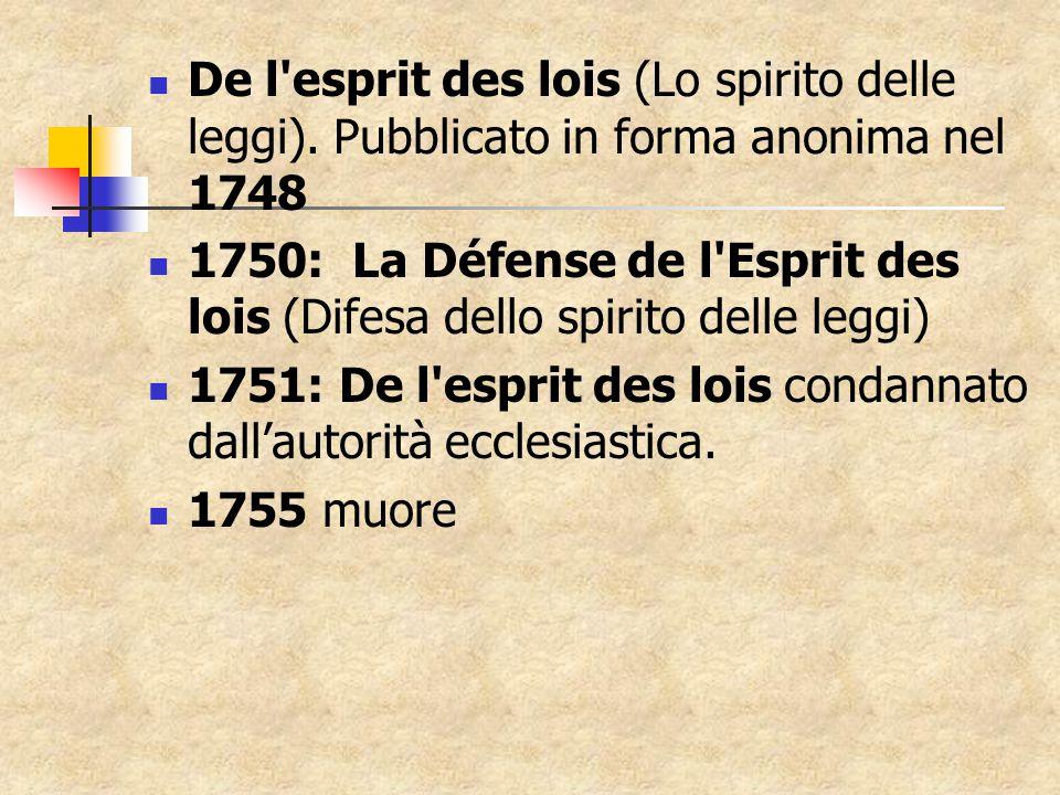 De l esprit des lois (Lo spirito delle leggi).