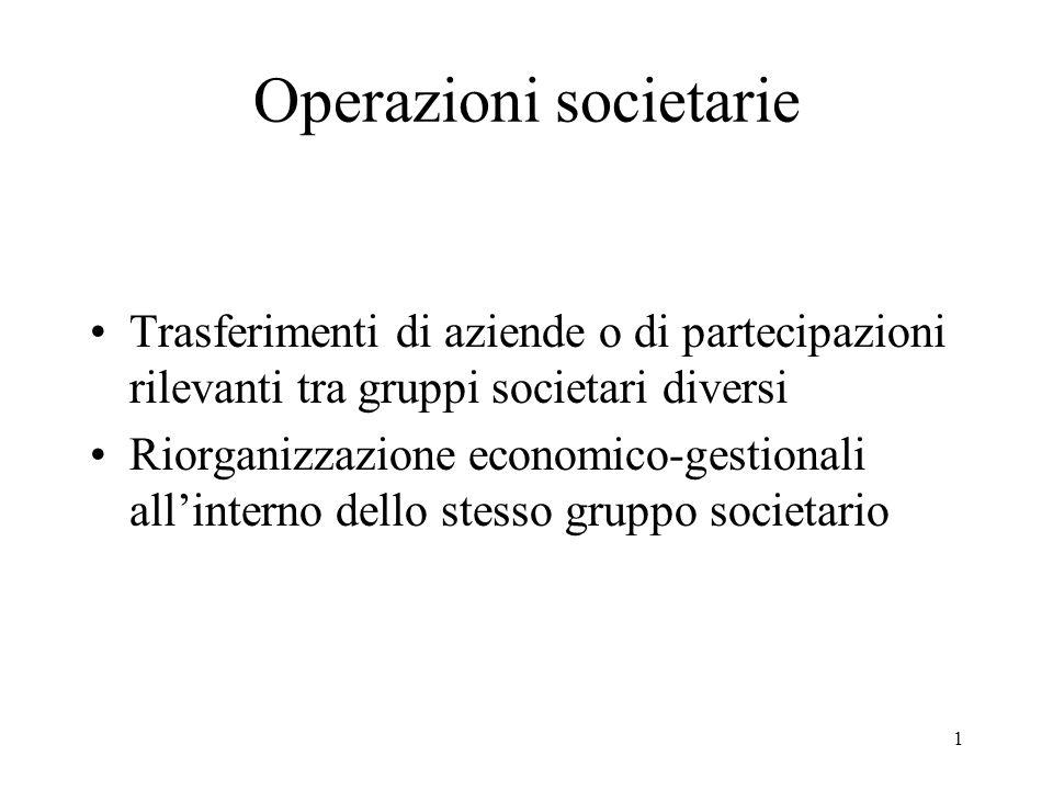 Operazioni societarie Trasferimenti di aziende o di partecipazioni rilevanti tra gruppi societari diversi Riorganizzazione economico-gestionali all'interno dello stesso gruppo societario 1