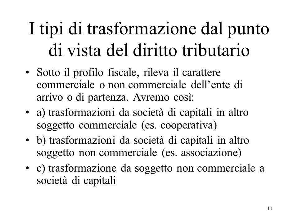 I tipi di trasformazione dal punto di vista del diritto tributario Sotto il profilo fiscale, rileva il carattere commerciale o non commerciale dell'ente di arrivo o di partenza.