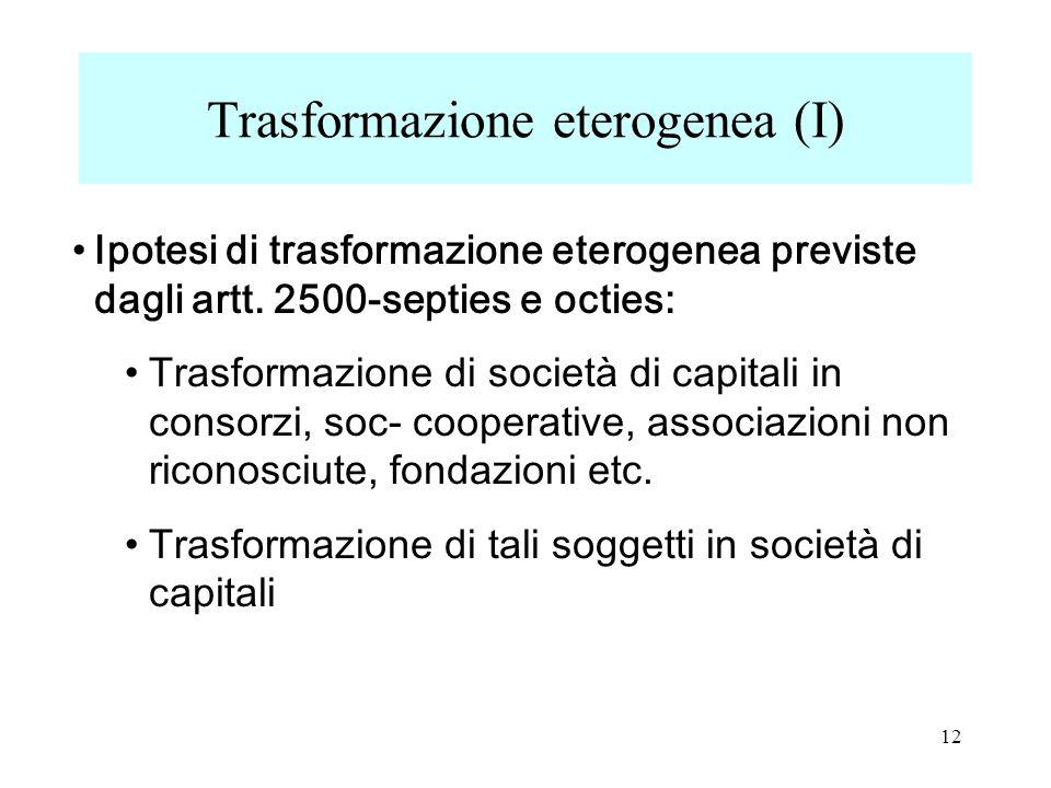 Ipotesi di trasformazione eterogenea previste dagli artt.