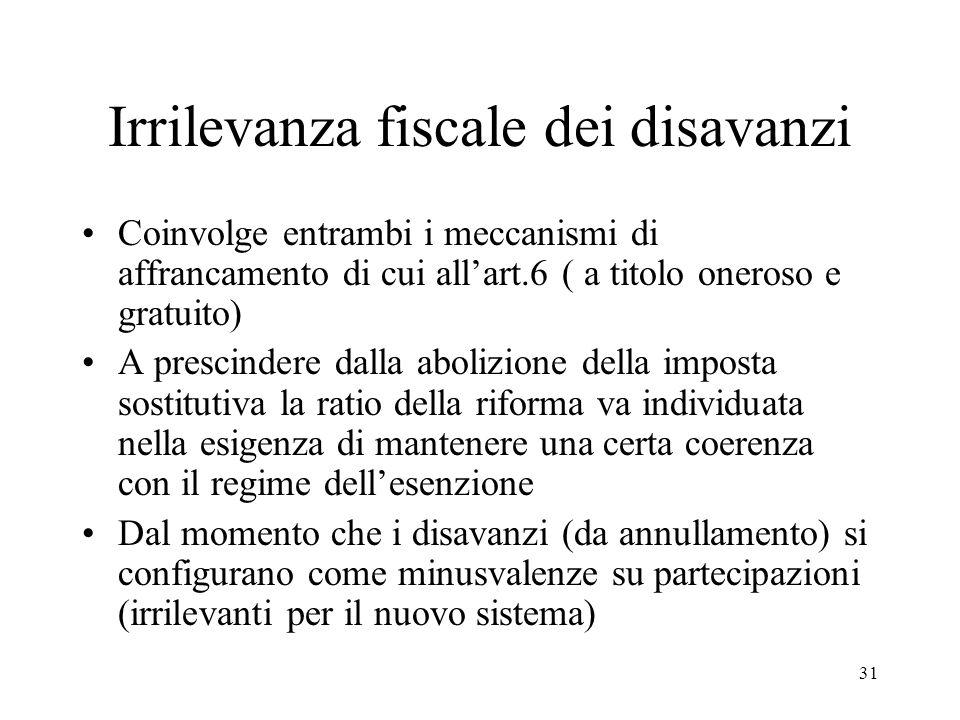 Irrilevanza fiscale dei disavanzi Coinvolge entrambi i meccanismi di affrancamento di cui all'art.6 ( a titolo oneroso e gratuito) A prescindere dalla abolizione della imposta sostitutiva la ratio della riforma va individuata nella esigenza di mantenere una certa coerenza con il regime dell'esenzione Dal momento che i disavanzi (da annullamento) si configurano come minusvalenze su partecipazioni (irrilevanti per il nuovo sistema) 31