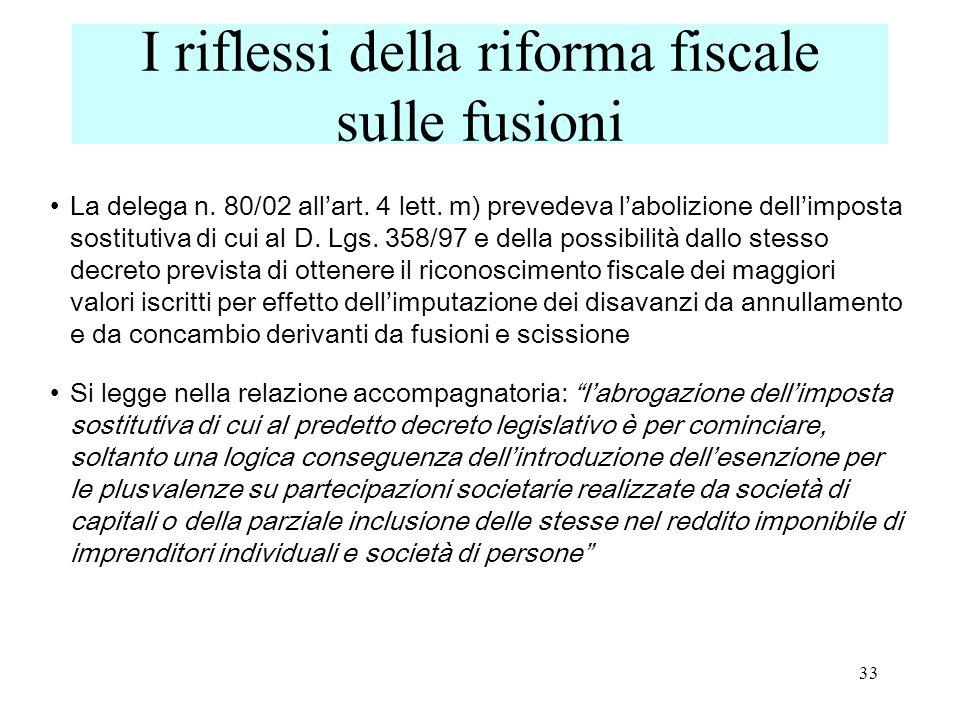 I riflessi della riforma fiscale sulle fusioni La delega n.