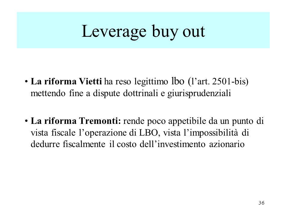 Leverage buy out La riforma Vietti ha reso legittimo lbo ( l'art.