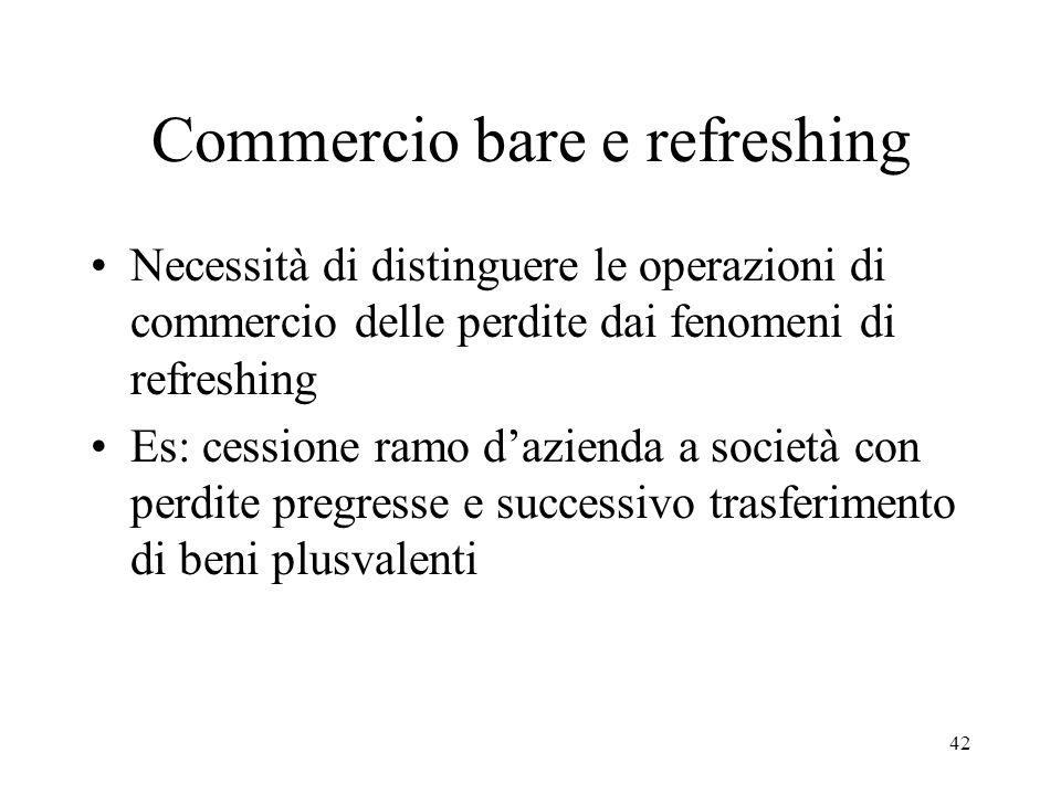 Commercio bare e refreshing Necessità di distinguere le operazioni di commercio delle perdite dai fenomeni di refreshing Es: cessione ramo d'azienda a società con perdite pregresse e successivo trasferimento di beni plusvalenti 42