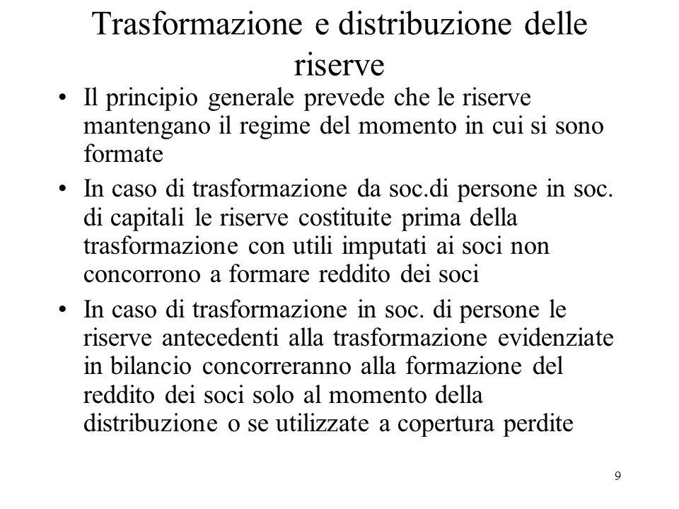 Trasformazione e distribuzione delle riserve Il principio generale prevede che le riserve mantengano il regime del momento in cui si sono formate In caso di trasformazione da soc.di persone in soc.