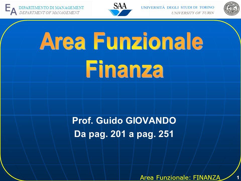 Area Funzionale: FINANZA DIPARTIMENTO DI MANAGEMENT DEPARTMENT OF MANAGEMENT 1 Prof.