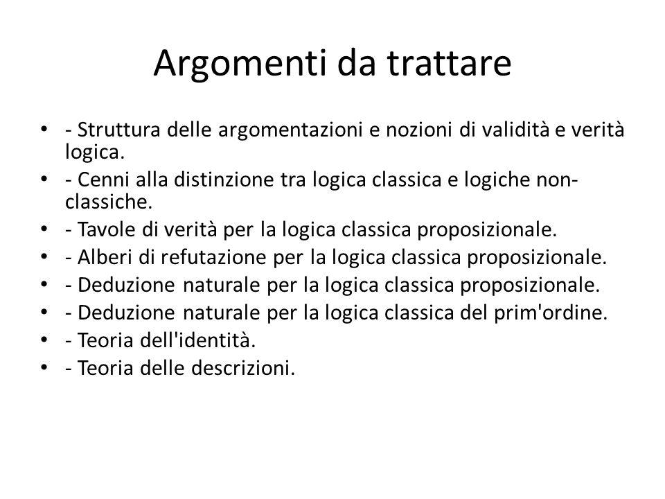 Argomenti da trattare - Struttura delle argomentazioni e nozioni di validità e verità logica.