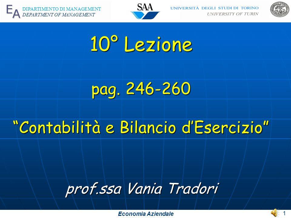 Economia Aziendale DIPARTIMENTO DI MANAGEMENT DEPARTMENT OF MANAGEMENT 10° Lezione pag.