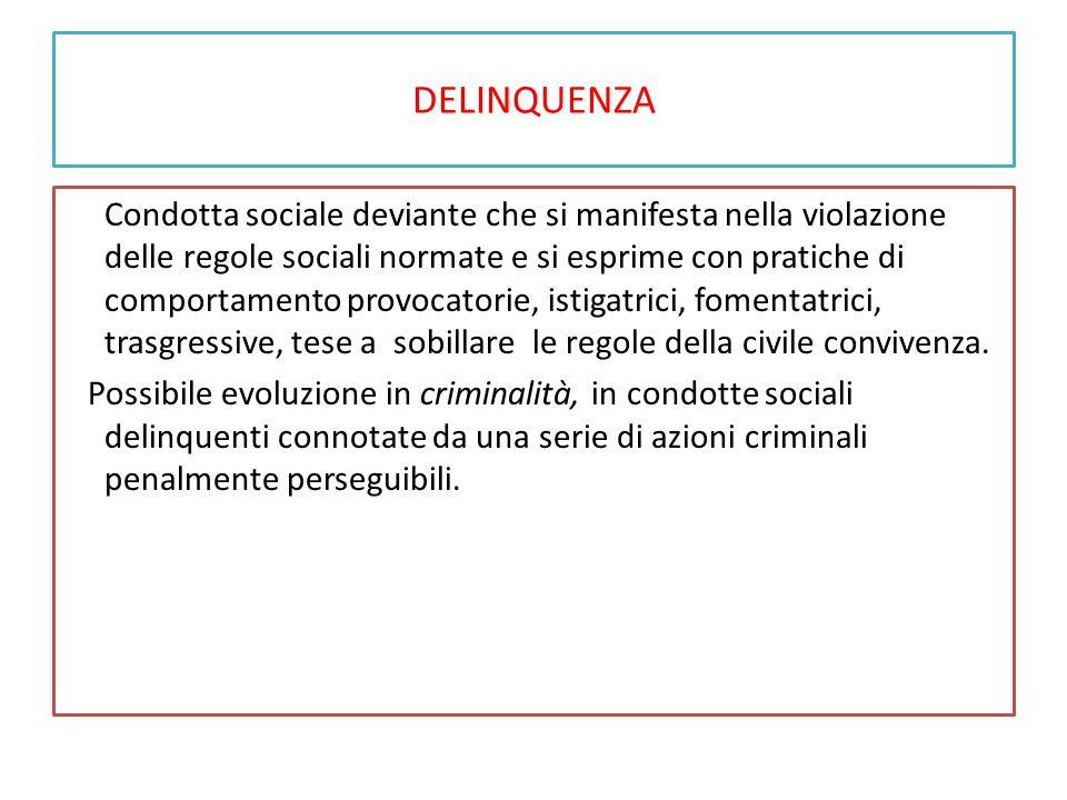 DELINQUENZA Condotta sociale deviante che si manifesta nella violazione delle regole sociali normate e si esprime con pratiche di comportamento provoc