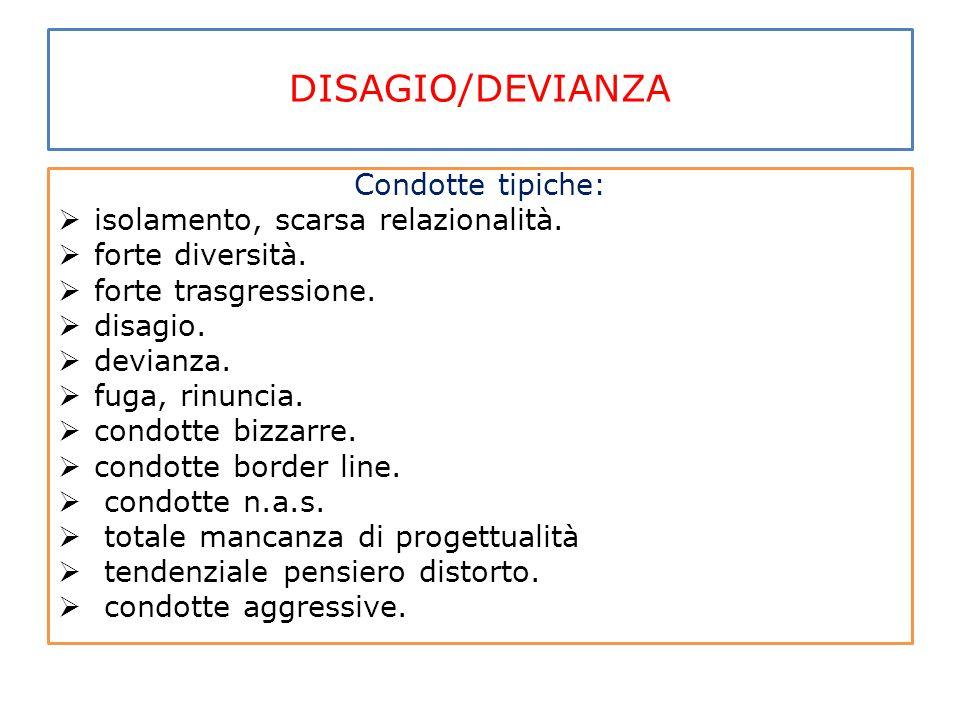DISAGIO/DEVIANZA Condotte tipiche:  isolamento, scarsa relazionalità.  forte diversità.  forte trasgressione.  disagio.  devianza.  fuga, rinunc