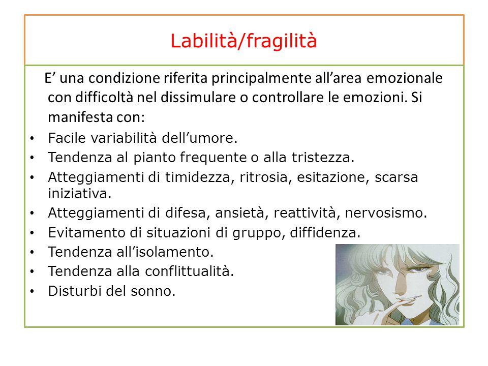 Labilità/fragilità E' una condizione riferita principalmente all'area emozionale con difficoltà nel dissimulare o controllare le emozioni. Si manifest