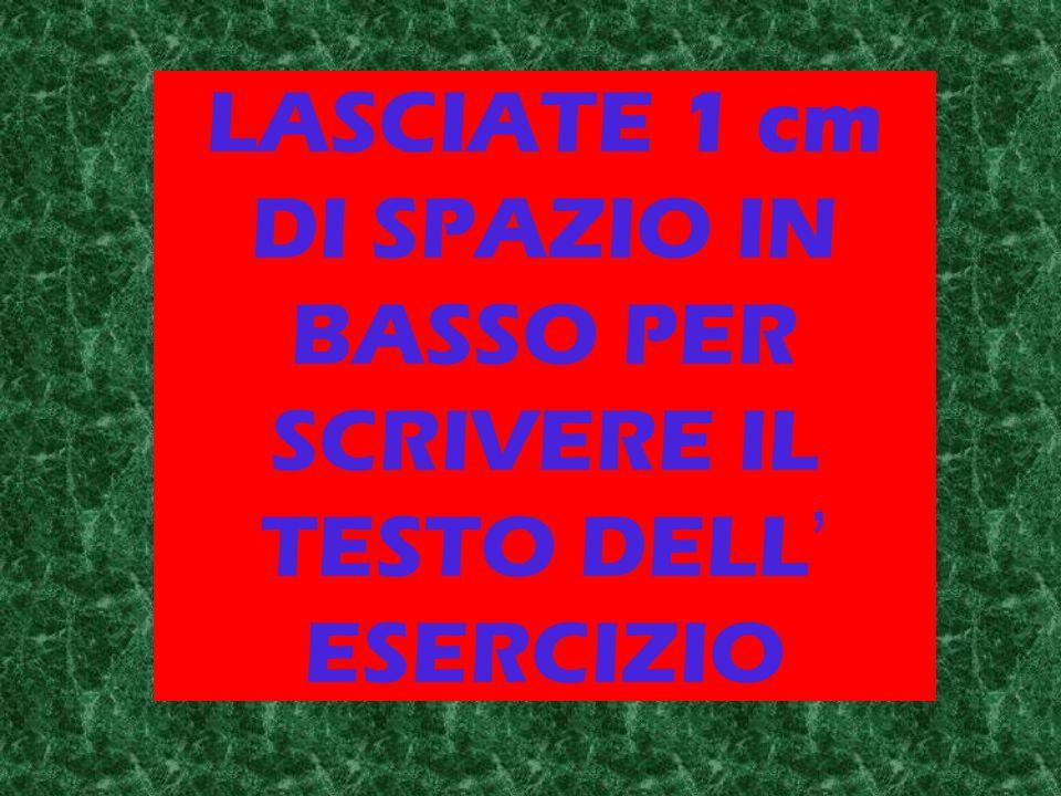 LASCIATE 1 cm DI SPAZIO IN BASSO PER SCRIVERE IL TESTO DELL ' ESERCIZIO
