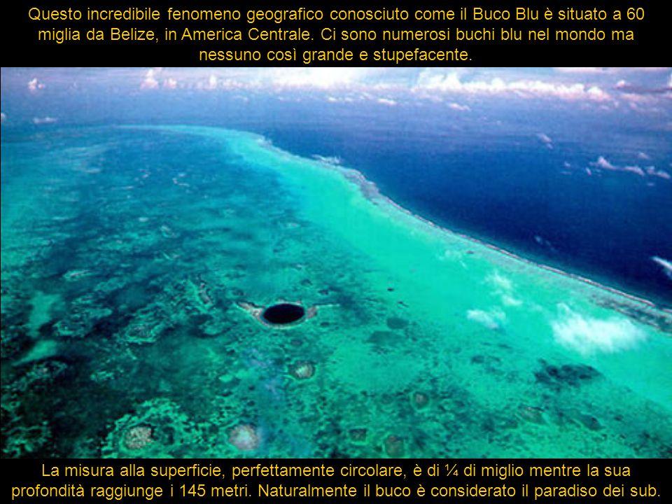 Questo incredibile fenomeno geografico conosciuto come il Buco Blu è situato a 60 miglia da Belize, in America Centrale. Ci sono numerosi buchi blu ne