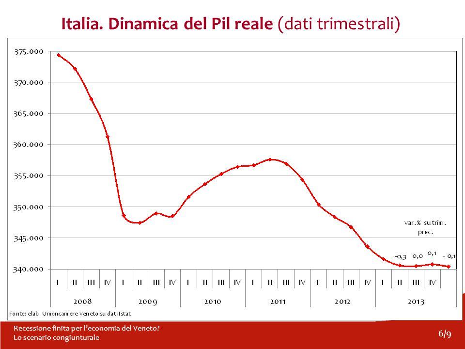 6/9 Recessione finita per l'economia del Veneto? Lo scenario congiunturale Italia. Dinamica del Pil reale (dati trimestrali)