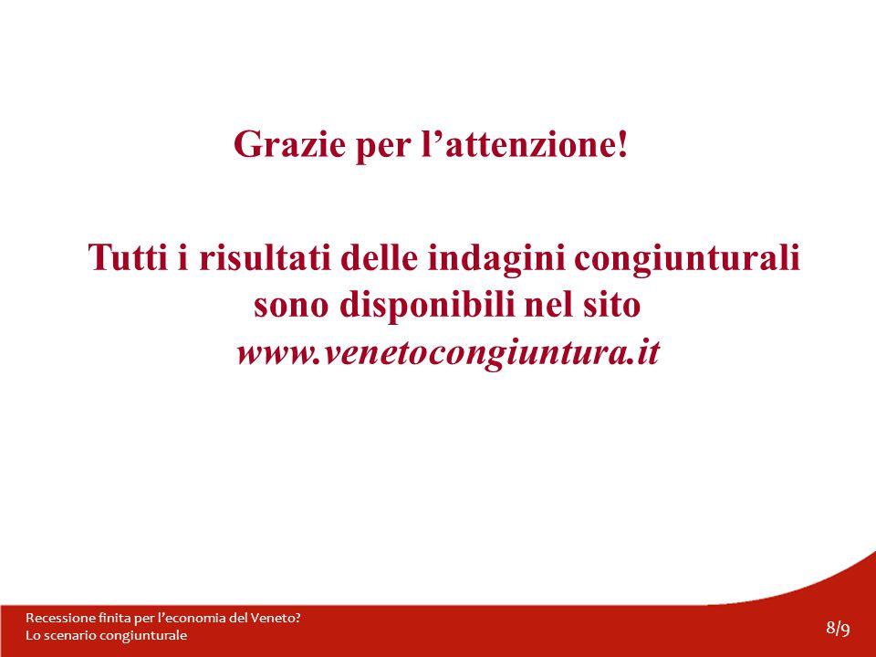 8/9 Recessione finita per l'economia del Veneto. Lo scenario congiunturale Grazie per l'attenzione.