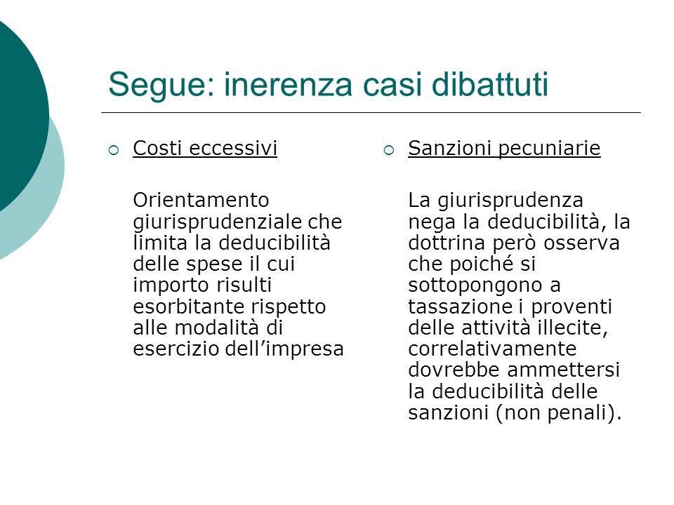 Segue: inerenza casi dibattuti  Costi eccessivi Orientamento giurisprudenziale che limita la deducibilità delle spese il cui importo risulti esorbita