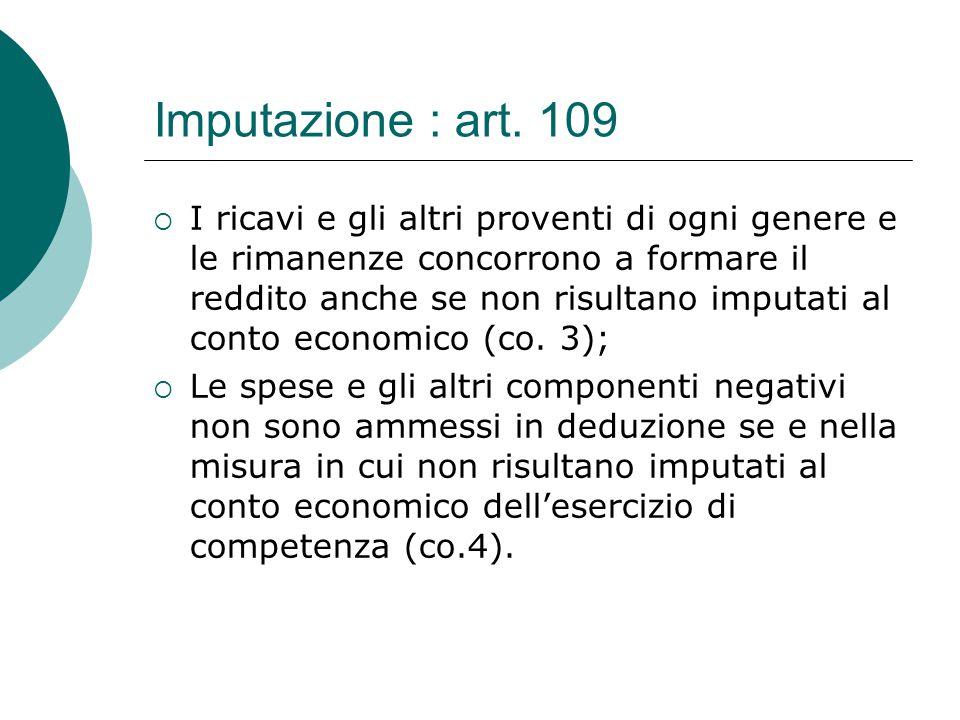 Imputazione : art. 109  I ricavi e gli altri proventi di ogni genere e le rimanenze concorrono a formare il reddito anche se non risultano imputati a